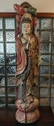 Vintage Antique Tibetan Hand Carved Wooden Goddess Statue 100lb 6and039tall Sculpture