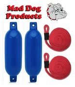 2 Blue 6.5 X 23 Ribbed Inflatable Boat Fenders And 2 Red Lines - Made In Usa