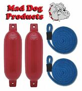 2 Red 6.5 X 23 Ribbed Inflatable Boat Fender And 2 Blue Lines - Made In Usa