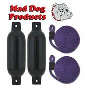 2 Black 6.5 X 23 Inflatable Boat Fender Buoys And 2 Purple Lines -made In Usa