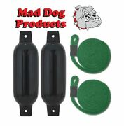 2 Black 6.5 X 23 Inflatable Boat Fender Buoys And 2 Green Lines -made In Usa