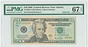 2006 20 Solid 3and039s Serial Number If 33333333 B Pmg 67 Epq Superb Gem Unc Super