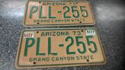 Vintage 1973 Arizona License Plates Front And Back Set Of 2 Good Condition Ships