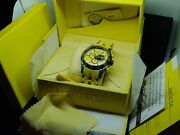 New 5024 Sea Spider Yellow Chronograph Black S. Steel Rubber Band Watch