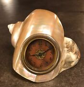 Mother Of Pearl Marbled Turban Shell Clock Nautilus Hollywood Regency Victorian
