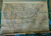 Antique A.h. Andrews And Co Wall Map United States Mexico Usa School Map Roll Up