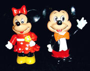 2-lot Vintage 1960and039s Mickey And Minnie Mouse Plastic Bank Banks - Hong Kong