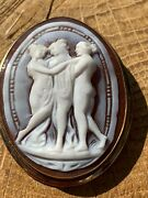 Victorian 9ct Yellow Gold 3 Graces Cameo Pendant/brooch.