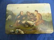 19th C. Large Lukutin Factory The Hunters At Rest By Perov Russian Lacquer Box
