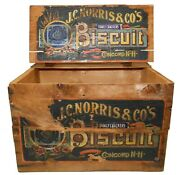 J. C. Norris And Co.'s Concord, Nh Antique Wood Box Biscuit Crate, W/2 Orig Labels