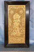 Framed Chalkware Gold Painted Indian Flute Player Dq