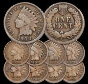 1900-1908 1c Indian Head Cent Penny Set Lot All 9 Coins Circulated
