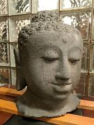 Chinese 18 Hindu Hand Carved Large Stone Antique Buddha Head Sculpture 90lbs