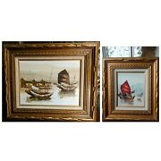 Pair P. Wong Mid Century Chinese Junk Boats Oil Canvas Original Asian Paintings