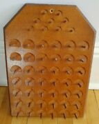 Vintage 1979 Wooden Sewing Thread Holder Wall Hanging Display 51 Spools