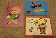 Lot Of 3 Vintage Connor Toy Kids Puzzles Daffy Duck Porky Pig Billy Blue Cowboy