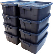 8 Pack Rubbermaid Boxs Organize Storage Totes 10 Gal Rugged Reusable Containers