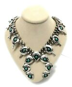 Vintage Navajo Sterling Silver Turquoise And039shadow Boxand039 Squash Blossom Necklace