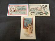 Vintage New Years Christmas Postcards Lot Of 3 Father Time Archangel Idaho +