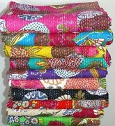 Cotton Handmade Kantha Quilt Throw Blanket King Size 5 Pcs. Lot Crazy