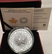 2020 Canadian Maple Leaf Brooch Legacy 30 2oz Pure Silver Proof Coin Canada