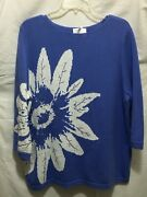 Quacker Factory Sweater Size Xl Purple White Flower Embellished Sequin Nwt