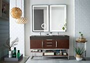 Columbia 59 Double Vanity, Coffee Oak W/glossy Dark Gray Solid Surface Top