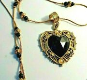 Vintage Victorian Style Pendant Necklace Glass Stone Pearl Rose Gold Tone Chain