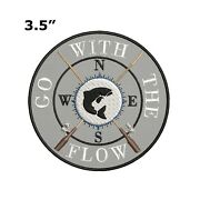 Fishing Rods Compass Embroidered Patch Iron / Sew-on Decorative Gear Applique