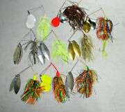 9 Large Big Blade Muskie Bass Pike Spinnerbait 2oz With Trailer Hook Tackle Box
