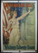 1919 Americans All Victory Liberty Loan By Howard Chandler Christy Linen Poster
