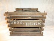 Antique Primitive Egg Carrying Crate With 3 Old Cardboard Egg Boxes