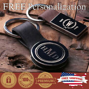 Personalized Leather Monogrammed Key Chain Custom Fatherand039s Day Gift For Him Her