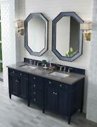Brittany 72 Double Vanity Victory Blue With 3 Cm Grey Expo Quartz Top W/sink