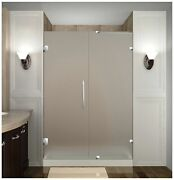 Aston Nautis Completely Frameless Hinged Shower Door In Frosted Glass 42 X ...