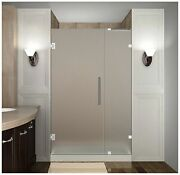 Aston Nautis Completely Frameless Hinged Shower Door In Frosted Glass 40 X ...