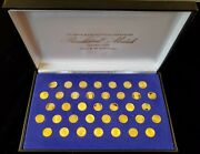 37 Piece Franklin Mint 24k Solid Gold Pure Presidential Medals Set White House
