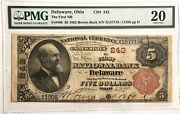 Fr 466 243 5 1882 Brown Back Delaware Oh Vf Very Fine 20 Pmg First National
