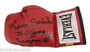 Leon Spinks Signed Boxing Glove D/10 Inscribed 76 Olympic Gm And Semper Fi Ali