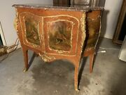 Antique French Hand Painted Vernis Martin Kingwood Gilded Bronze Marble Commode
