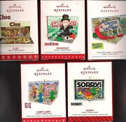 Hallmark Ornament Family Game Night 2018 - 2014 Monolopy Sorry Candyland Lot Db