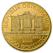 2000 1 Oz. Gold Austrian Philharmonic Coin 999.9 Pure Great Gold Investment