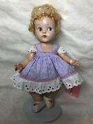 """7"""" Antique Vintage Vogue Ginny Doll Hand Painted Face Crib Crowd Caracul Wig Me"""