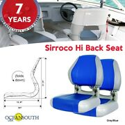 Oceansouth Usa Deluxe Hi Back Boat Seats Folding Gray/blue X 2