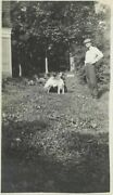 1296p Vintage Photo Father W His Young Son Kneeling Down By Their Dog