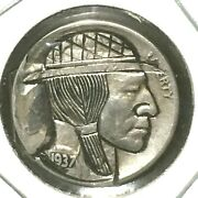 Hobo Nickel 1937 S Buffalo Nickel Signed Bp By The Artist Brent Pearson