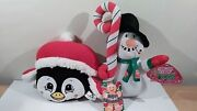 Sugar Loaf Toys Christmas Penguin 8 And Snowman 12 Plush 2012 And 2013 Nwt