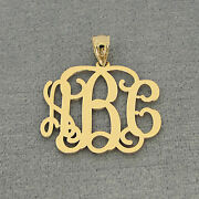 14k Solid Gold 3 Initials Monogram Pendant 1 Inch Wide Bridesmaids Gifts Gm31