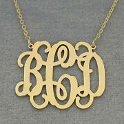 14k Solid Gold 3 Initials Monogram Necklace 1 1/4 Inch Wide Gm32c