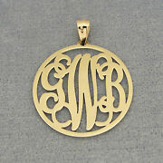 14k Solid Gold 3 Initials Circle Monogram Pendant 1 Inch Wedding Gift Jewelry